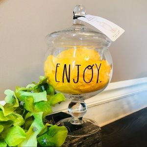 New!! Rae Dunn glass candy jar ENJOY.